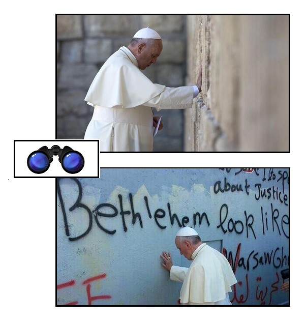 above:, Francis at the Wailing Wall; below: Francis at the Wall of Separation